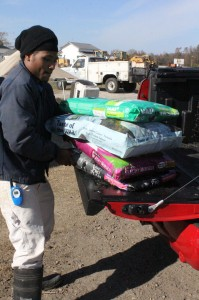 Unloading the dog food!