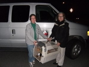 Pat Parrish & Teresa Bruton load up a cat headed to the Spay/Neuter Clinic!