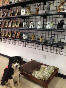 Unique Wood Carved Picture Frames and Cute Beaded Dog Statues in the Bone-tique!