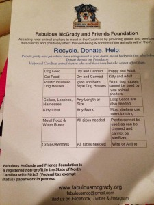 A list of items that FMFF can readily recycle.  We can also recycle gently used, clean towels, linens and blankets.