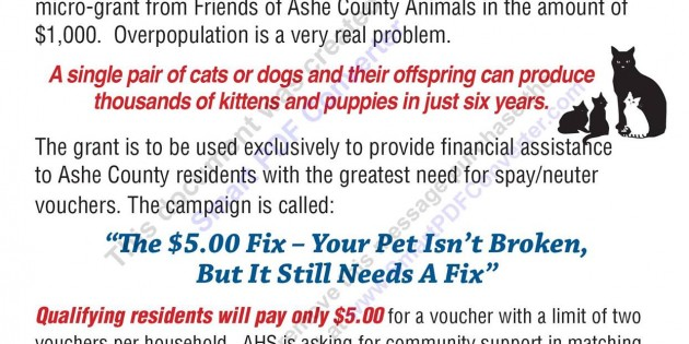 """The $5 Fix"", a joint campaign between Ashe Humane Society and FMFF/FACA"