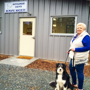 McGrady with Montgomery County Humane Society Founder, Mrs Sally Morris, in front of the new MCHS facility